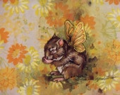 SquirrelerFly -- Original 8x10 gouache painting on vintage fabric