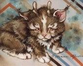 BabyKittylope--Original 8x10 Gouache painting on cloth