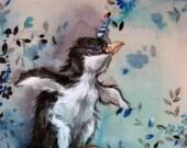 BabyPenquinicorn -- Original 8x10 gouache painting on vintage textile
