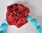 Turquoise Neck Collar with Cherry Red Flower