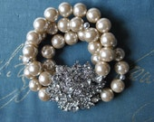 Champagne Pearl and Brooch Statement Bracelet