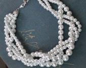 White Chunky Pearl-4 Strand- Twisted Statement Necklace