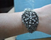 Antique Silver Plated Metal Filigree Cuff Bracelet with Rhinestone Brooch attached