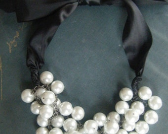 White Pearl Black Tie Necklace-Made to Order
