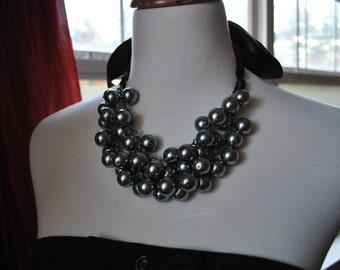 Charcoal Pearl Black Tie Chunky Pearl Statement Necklace-made to order