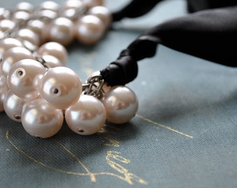 Whisper Pink Pearls with Black Tie