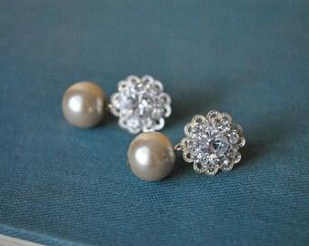 Rhinestone Champagne Pearl Drop Earring Studs