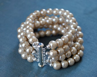 Multi Strand Champagne Pearl Statement Cuff Bracelet-made to order-need wrist size