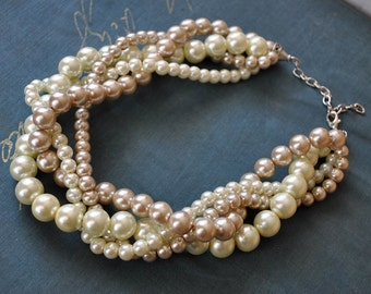 Pearl Statement Necklace in Champagne and Ivory Twisted Pearls