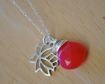 Sterling Silver Hot pink CHALCEDONY with Lotus Flower Charm Necklace