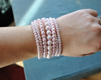 Multi Strand Whisper Pink Pearl Statement Bracelet