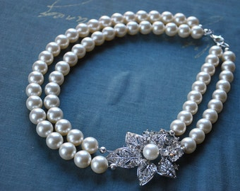 Cream Pearl Statement Brooch Necklace-made to order