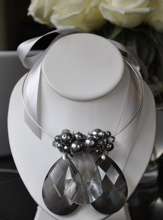 Charcoal Crystal Ribbon Chandelier Necklace