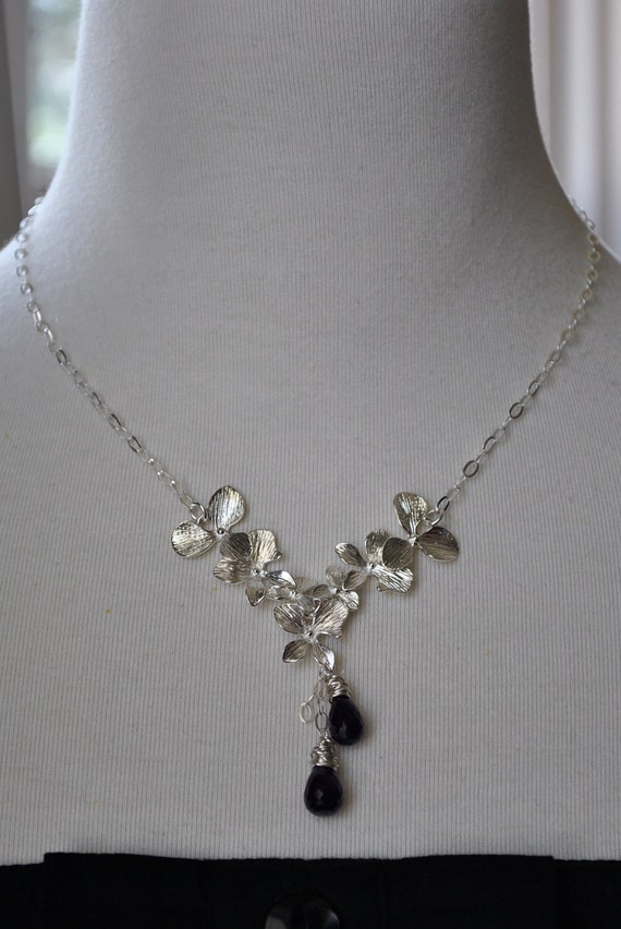 Orchid Cluster with Amethyst Drops Sterling Silver Necklace