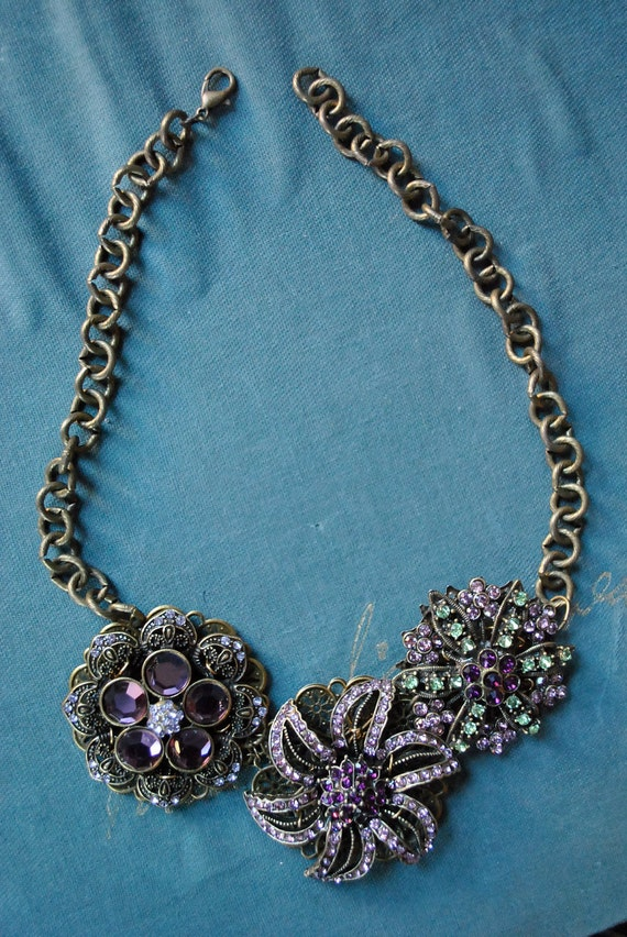 Purple Brooch Statement Necklace
