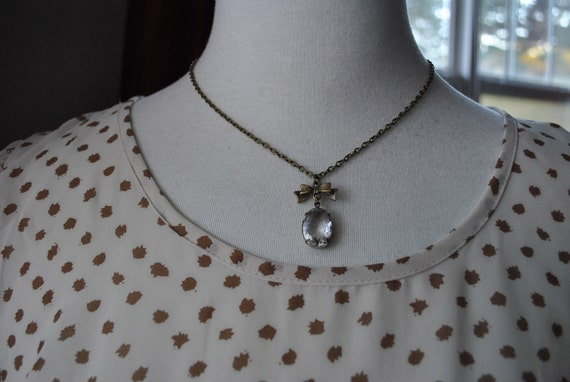 Vintage Glass Bow Tie Charm Necklace