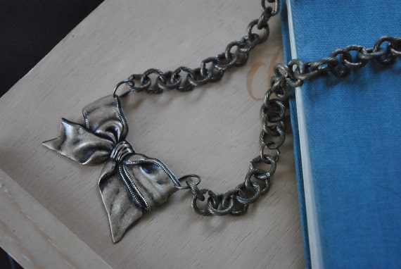 Antique Brass Bow Charm and Chain