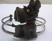 RESERVED A Gaelic Wee Scottish Dog,  Vintage Brooch Art Cuff Bracelet Ooak