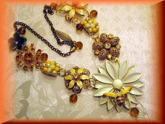 Splendor In The Garden  Vintage Statement Necklace Repurposed Reconstructed Ooak Jeweley