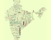 CUSTOM LISTING FOR sanj902v - India Type Map - 11x14