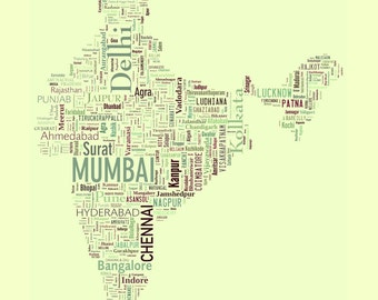 "India Type Map Art Print - 13"" x 19"""