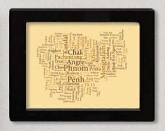 "Cambodia Typography Map Art Print - 11 x 14"" // additional sizes available"