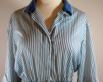 Avon Fashions Blue & White Striped Vintage Dress