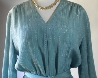 Vintage Green Dress with Gold Accents