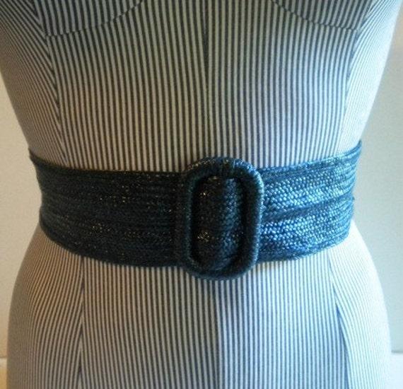 vintage navy blue raffia wide belt