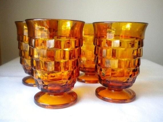 Vintage Indiana Glass Amber Whitehall Juice Glasses