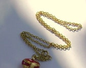 red and gold foil heart necklace