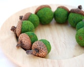 Needle Felted Wool Acorns - 9 Mossy Green