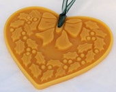 Beeswax  Ornament - Heart Shaped Window Impression - Christmas Holly