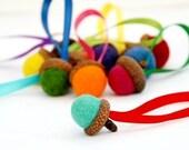 Felted Wool Acorn Ornaments - 10 Summer Brights