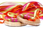 Dancing Ribbon Rings - Neon Orange, Pink, and Green