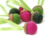 7 Eco Friendly Wool Acorn Ornaments - Needle Felted - Watermelon