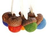 Wool Felted Acorn Ornaments - 6 Rainbow