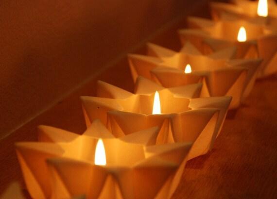 Six mini waldorf star lanterns in lunar white