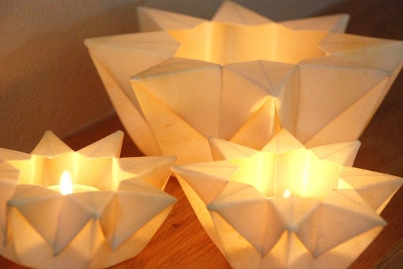 Three Lunar White Waldorf Star Lanterns