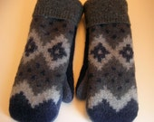 Hearty, navy wool mittens for men: fleece lined, recycled wool sweater mittens.  Men's Small/ Medium.