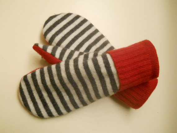 Striped Cashmere and Red Wool Mittens - soft, felted, recycled cashmere and wool fully lined with soft fleece.  Ladies Medium.
