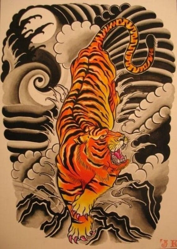 Japanese Style tiger by marykaterockz on Etsy