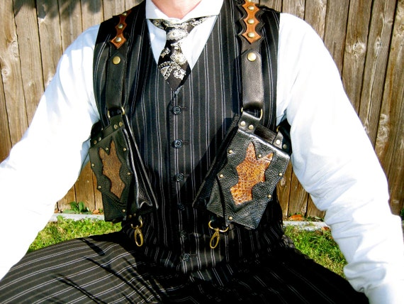 Steampunk Black and Brown Pocket Holster