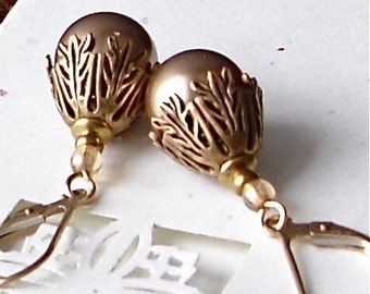 Champagne Swarovski Pearl & Art Deco Earrings Gold Filled Earwires Vintage Wedding Bride Maid Bridesmaid Birthday Anniversary Christmas gift