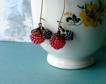 Art Nouveau NeoVictorian Red Raspberry Berry Earrings