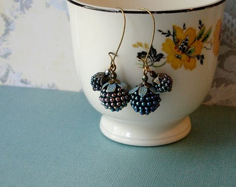 Fresh Blackberry  Earrings with Verdigris Patina Leaves