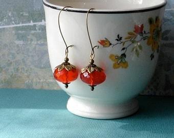 Autumn Fall Earrings  Persimmon & Gold Leaf Vintage Earrings Festive Holiday THANKSGIVING Pumpkin Orange Halloween Boho Earrings