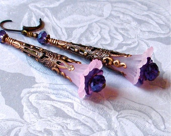 Victorian Filigree Earrings Art Nouveau Tussie Mussie Pink Purple Flower Vintage Wedding Anniversary Birthday Valentine SALE Woman Gift Her