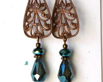 Art Nouveau Filigree & Teal Teardrop Earrings