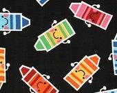 Fabric Happy Crayons on Black Fabric 1 1/2 Yard